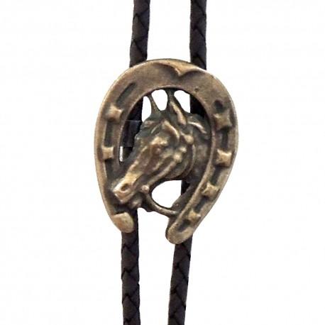 Western cowboy tie Horseshoe 2, brass color
