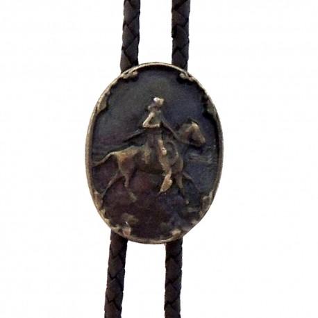 Western cowboy tie Rider, brass color
