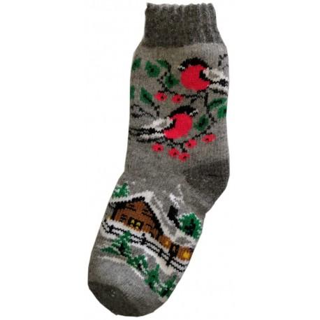 Woolen socks motif birds 1