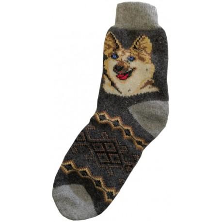 Vlněné ponožky motiv pes