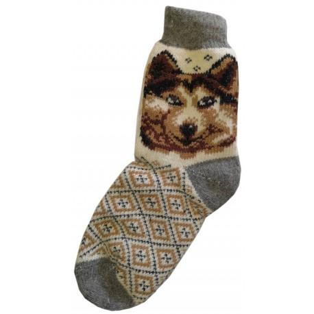 Vlnené ponožky motív psa 3