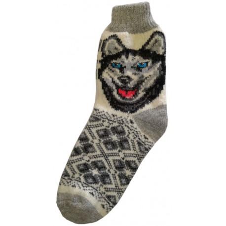 Vlnené ponožky motív psa 4