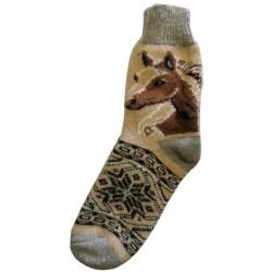 Vlněné ponožky motiv kůň