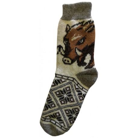 Vlněné ponožky motiv divoké prase
