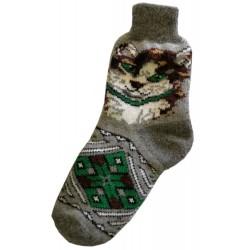 Vlněné ponožky motiv kočka