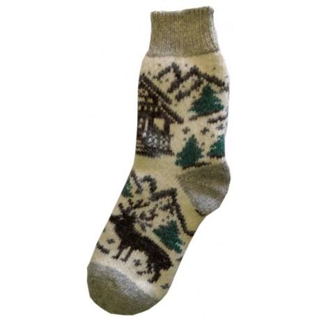 Vlněné ponožky motiv sob