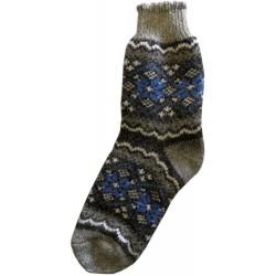 Vlněné ponožky motiv modré kytičky