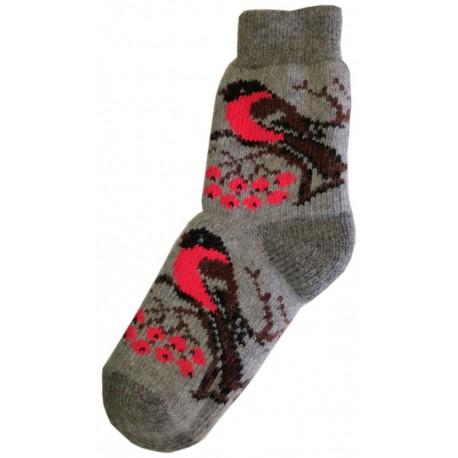 Vlnené ponožky motív vtákov 2