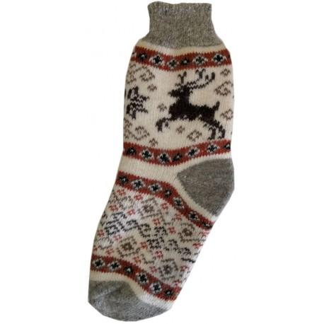 Vlněné ponožky motiv  jelen 2