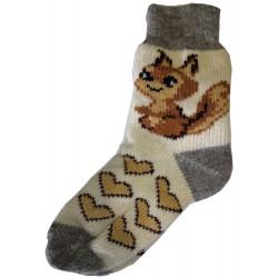 Vlněné ponožky motiv veverka