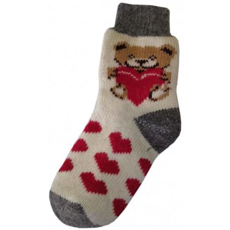 Vlněné ponožky motiv medvídek se srdíčkama