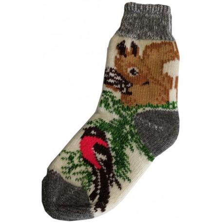 Vlněné ponožky motiv veverka s ptáčkem