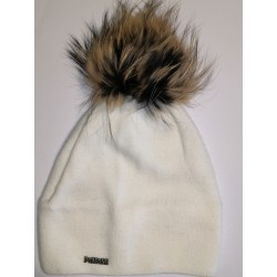 Winter knitted wool cap white 1