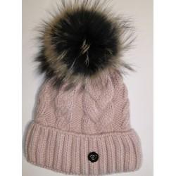 Zimní pletená vlněná čepice růžová
