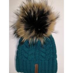 Zimní pletená vlněná čepice zeleno-modrá