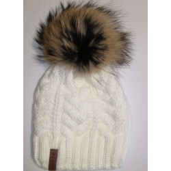 Winter knitted wool cap white