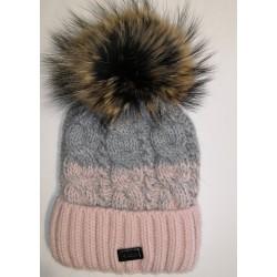 Zimní pletená vlněná čepice růžovo-šedá