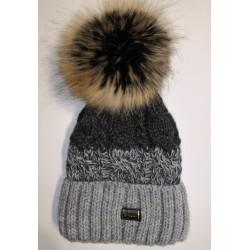 Zimná pletená vlnená čiapka šedo-čierna