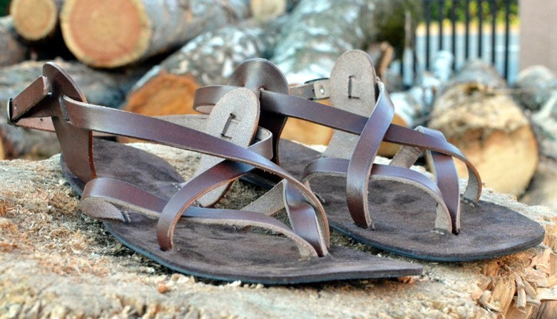Leder barefoot sandalen